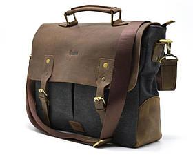 Мужская сумка-портфель кожа+парусина RG-3960-4lx от украинского бренда TARWA