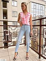 Блузка женская летняя без рукавов стильная с красивой рюшей р-ры 42-44,44-46 арт 475
