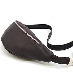 Поясная кожаная сумка средняя с фастексом, коричневая кожа TARWA FC-3005-4lx