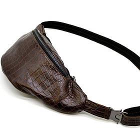 "Бананка, кожаная сумка на пояс ""крокодил"" TARWA RP1-3036-3md"