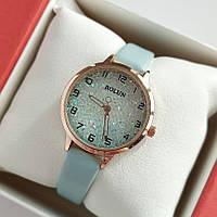 Жіночі наручні годинники Bolun золотистого кольору з переливаються циферблатом, блакитний ремінець - код 2015, фото 1