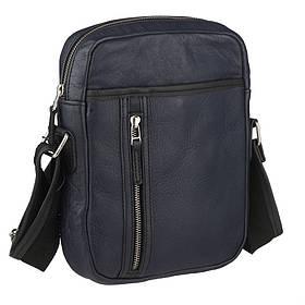 Кожаная сумка через плечо синего цвета M110bu John McDee