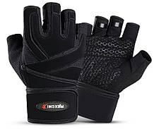 Перчатки для тренажерного зала велосипеда с напульсниками Rexchi 2 безпалые черные