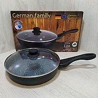 Антипригарная сковорода с гранитным покрытием и крышкой German Family 26 cm GF-050MB