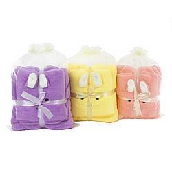 Набор полотенец140х70см 35х70см подарочных  детских с ушками микрофибра