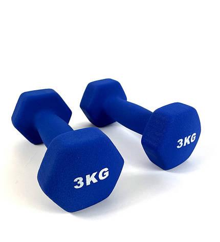 Гантелі для фітнесу NEO-SPORT 3 кг. x 2 шт., метал з вініловим покриттям Сині, фото 2