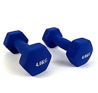 Гантели виниловые для фитнеса NEO-SPORT 4 кг. x 2 шт., цельные неразборные Синие