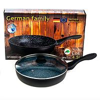 Антипригарная сковорода с гранитным покрытием и крышкой GERMAN FAMILY GF-050GC 28