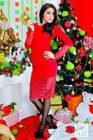 Красивое красное платье с гипюровыми вставками . Арт-1427/17