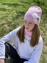 Демисезонныйдетский вязаный наборшапочкаи снуд для девочки ручной работы.