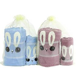 Набор подарочных полотенец детских зайчики микрофибра 140х70 см 35х70 см