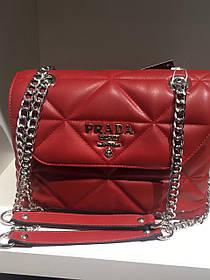 Женская сумка Pradа красная стеганная 1141