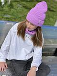 Демисезонный детский вязаный набор шапочка и снуд для девочки ручной работы., фото 3