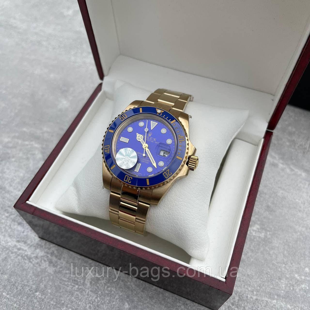 Годинники наручні Ролекс Rolex Submariner AAA Date Gold-Blue