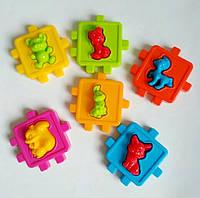Логічний куб, розвиваючий сортер з фігурками тварин,куб сортер KW-50-102, фото 1