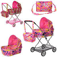 Коляска для куклы пупса Melogo 9325 с корзиной и сумкой розовые