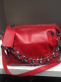 Женская сумка Polina красная c цепью 9132
