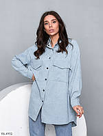 Рубашка женская молодежная удлиненная свободного кроя из микровельвета арт 003