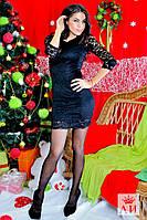 Красивое кружевное черное платье с открытой спиной. Арт-1428/17