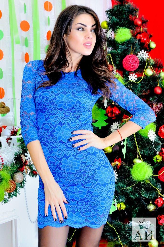 5a13ba52eaa Красивое кружевное синее платье с открытой спиной . Арт-1428 17 - Интернет-