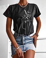 Яскрава футболка жіноча з гарним принтом оверсайз, Футболка зі стильним малюнком для дівчини (чорний, білий)