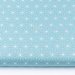"""Лоскут ткани """"Геометрический цветок"""" белый на бирюзовом, №3422а, размер 48*80 см, фото 2"""