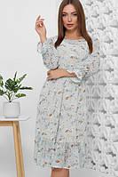 Летнее шифоновое платье с принтом голубое Размер 46 50 52 Красивые платья из шифона лето