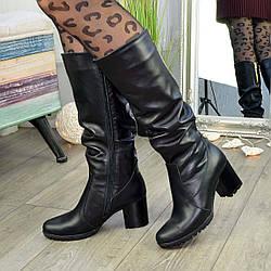 Сапоги женские демисезонные черные кожаные на устойчивом каблуке. 37 размер