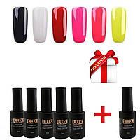 Гель лак Lilly Beauty Lux 8мл 6шт(Гель-лак для покрытия ногтей, маникюр, база, топ Kodi, Шеллак, Oxxi, педикюр