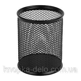 Подставка для ручек металлическая круглая Axent 2110-01-A, 80х80х100 мм, черная