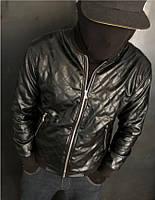 Мужская куртка бомбер стеганная экокожа (осень-весна)