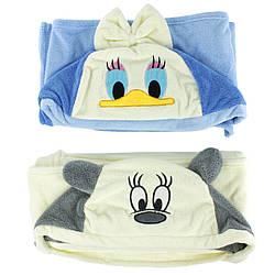 Полотенце детское банное с капюшоном Микки-маус микрофибра 70х140см