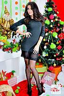 Красивое черное платье ангора с кружевом внизу. Арт-1431/17