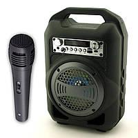 Переносная Колонка Bluetooth UBS-B13 LED + Караоке Черно-серебро