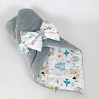 Зимовий дитячий конверт на виписку BabySoon Париж 80 х 85 см колір м'яти (063)