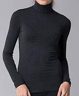 Женский термогольф с шерстью черный, фото 1