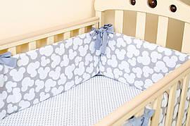 Бортики в дитячу ліжечко BabySoon Сірий Міккі 360см х 27см (508)
