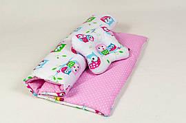 Комплект в коляску с подушкой бабочкой BabySoon Нежные совушки  (Три предмета)