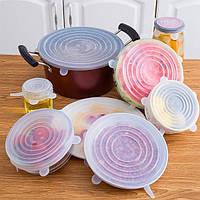 Набор силиконовых крышек для посуды 6 шт прозрачные