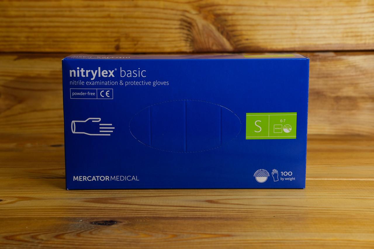 Перчатки нитриловые Mercator Medical, цвет Синий, Размер S (100 шт.)