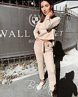Женский стильный замшевый брючный костюм, фото 1