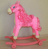 Лошадь-качалка, розовая (музыкальная)