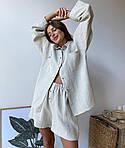 Жіночий костюм, льон, р-р універсальний 42-46 (білий), фото 2