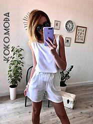Амбер летний женский котоновый костюм с шортами 100 % хлопок белый