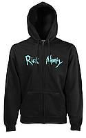 Худи на молнии Rick and Morty толстовка черная с принтом Рик и Морти