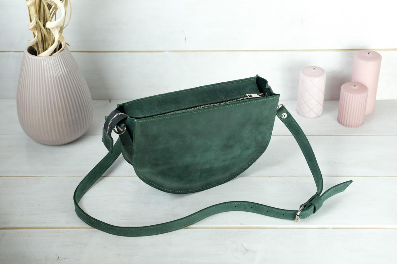 Сумка женская. Кожаная сумочка Фуксия, Винтажная кожа, цвет Зеленый