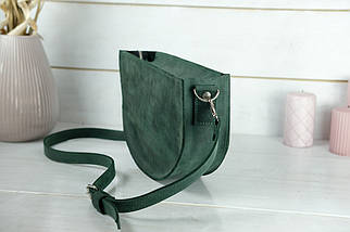 Сумка женская. Кожаная сумочка Фуксия, Винтажная кожа, цвет Зеленый, фото 3