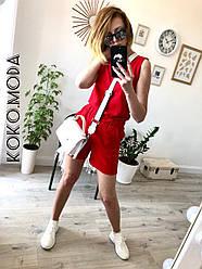 Амбер летний женский котоновый костюм с шортами 100 % хлопок красный