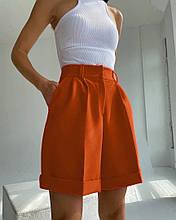 Женские шорты, костюмка, р-р 42; 44; 46 (кирпичный)
