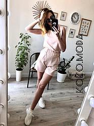 Амбер летний женский котоновый костюм с шортами 100 % хлопок бежевый